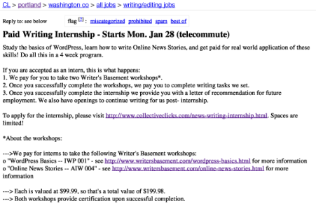 Paid Writing Internship